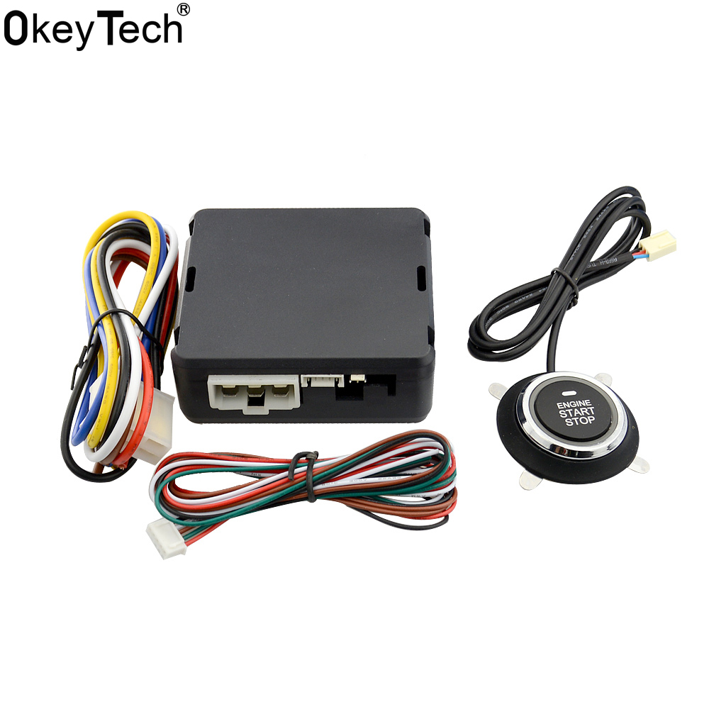 OkeyTech Best Car START STOP Engine System Push Button keyless Entry System With Start Stop Button Auto Alarm Remote Engine universal pke car keyless entry alarm system with remote engine start push start stop button trunk release