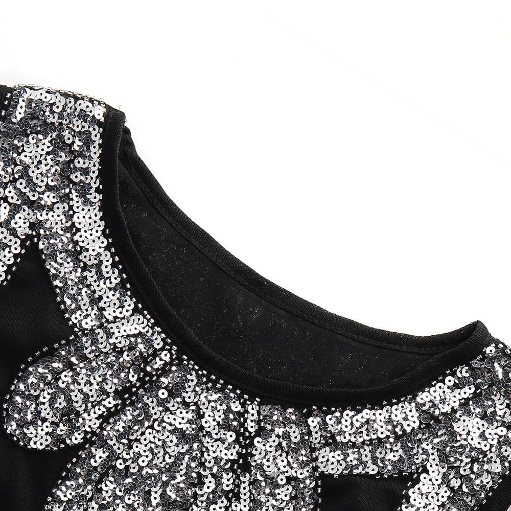 Stretchy Little Black Dress Midi Vestido Women 1920s Vintage Beaded Fringe  Sequin Flapper Dress Gatsby Tunic Top Shift Dress-in Dresses from Women s  ... 1d0549c1a561