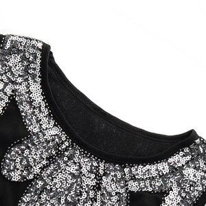 Image 4 - Vestido pequeño negro elástico Midi para mujer, Vestido Vintage con cuentas y flecos, Vestido de aleta de lentejuelas, Túnica Gatsby 1920s