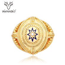 Viennois Fashion Jewelry Gold Color Pattern Alloy Simulated Pearl Brooch Pins for Women Lady