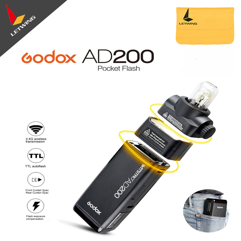 Free DHL 2017 New Godox AD200 Pocket Flash with 2 Light Heads GN52 GN60 200W Power 2.4G Wireless X System TTL HSS 1/8000s new original ax21 with free dhl