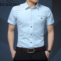Dudalina Summer New Men's Shirt Brand Luxury Men Cotton Short Sleeves Dress Shirt Turn down Collar Cardigan Shirt Men Clothes