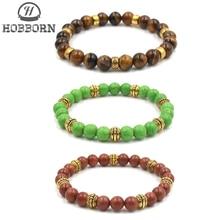 HOBBORN Trendy 8mm Natural Stone Bracelet Women Men Map Picture Tiger Eye Lava Strand Beads Bracelets Meditation Jewelry
