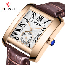 CHENXI Mens Watches Top Brand Luxury Leather Strap Calendar Waterproof Quartz Watch Male Square Wristwatch Relogio Masculino chenxi brand calendar gold quartz watches men luxury hot sale wristwatch golden clock male watch men saat relogio masculino 20