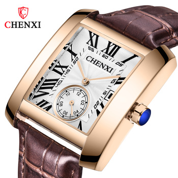 CHENXI Mens Watches Top Brand Luxury Leather Strap Calendar Waterproof Quartz Watch Male Square Wristwatch Relogio Masculino
