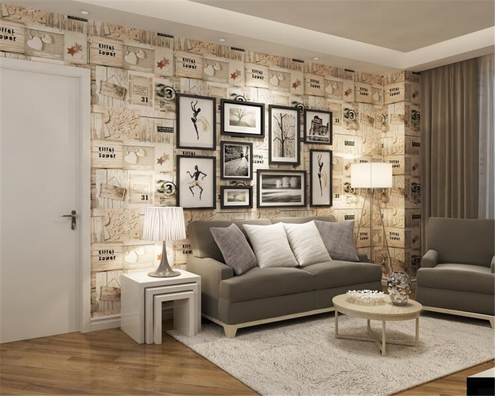 beibehang American style retro wood PVC 3d wallpaper Mediterranean coffee shop Internet cafe background living room wall paper