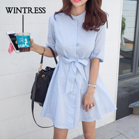 Milwaukee A Line Casual Half Women Dress Autumn Hot Selling Striped With Belt Cotton Bow Korean