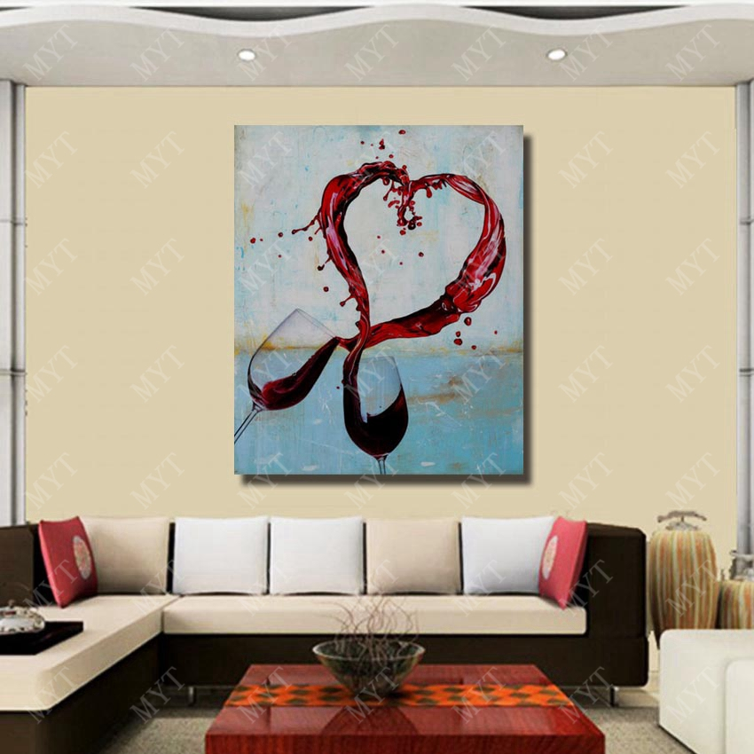 Wall Design Lover Cheers Glass Of Wine Painting Living Room Decor Oil On Sale High Quality