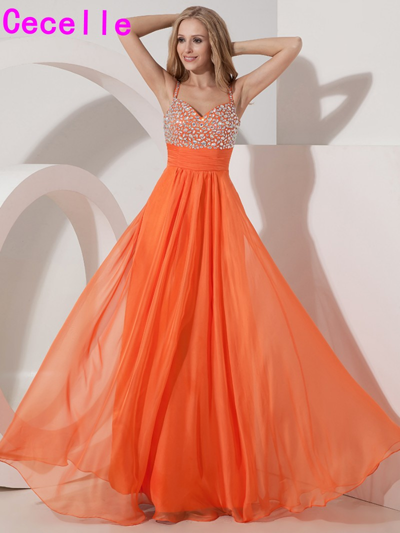 2019 Long Orange Chiffon A line Prom Dresses Gowns With