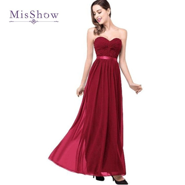 fe07fce6f898 Sexy And Simple Sweetheart Open Back Floor Length Long Chiffon Navy Blue Burgundy  Bridesmaid Dresses Wedding Party Gown CPS263