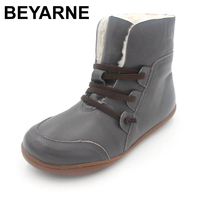 BEYARNE Women S Boots Winter Shoes Wool Genuine Leather Shoes Round Toe Lace Up Ladies Ankle