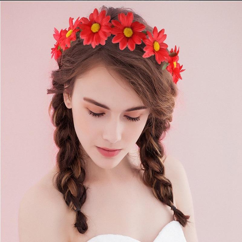 Bohemian Beach Girls Wedding Hair Accessories Large Artificial Plants Floral Daisy Fabric Crown Garland Wreath