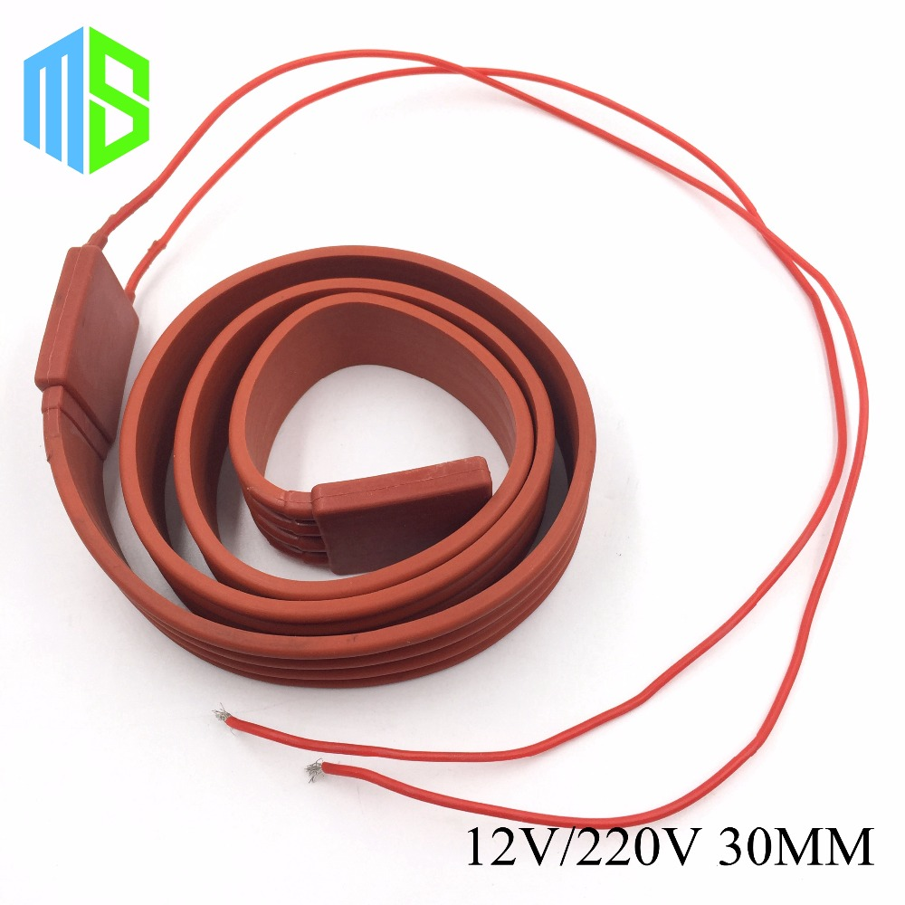 30MM 12V~220V Flexible Belt Silicone Rubber Heating Cable Silica Gel Heater Trace Wire Freeze Protection Water Pipe/Car/Battery