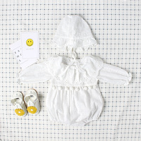 5180 Cotton Toddler Kids New Born Baby Girls Baptism Clothing Sets 2Pcs Cap Rompers Wholesale Baby