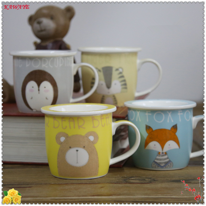 1Set Cute Cartoon Animals Ceramic Cup Personality Ceramic Mug Breakfast Milk Cup Office Drinkware Creative Coffee Mug 6ZDZ332