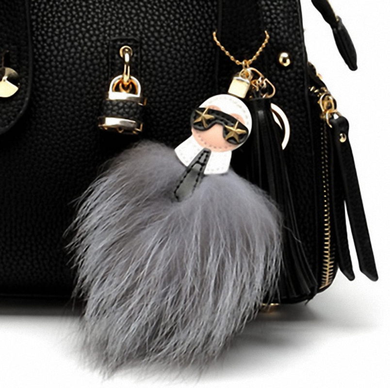 Fluffy Karl Genuine Raccoon Fur Pompom Monster Bag Bugs Charm Keychain Plush Key Ring Leather Tassel