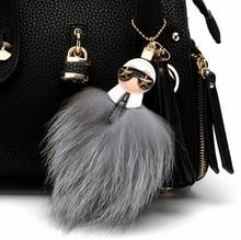 Fluffy  Karl Genuine Raccoon Fur Pompom Monster Bag Bugs Charm Keychain Plush Key Ring Leather Tassel Pompom  K001-grey