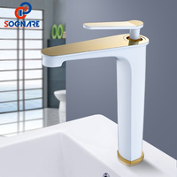 SOGNARE Supper High Quality Tall Sink Faucet Bathroom Basin Faucets White Golden Single Lever Mixer Tap