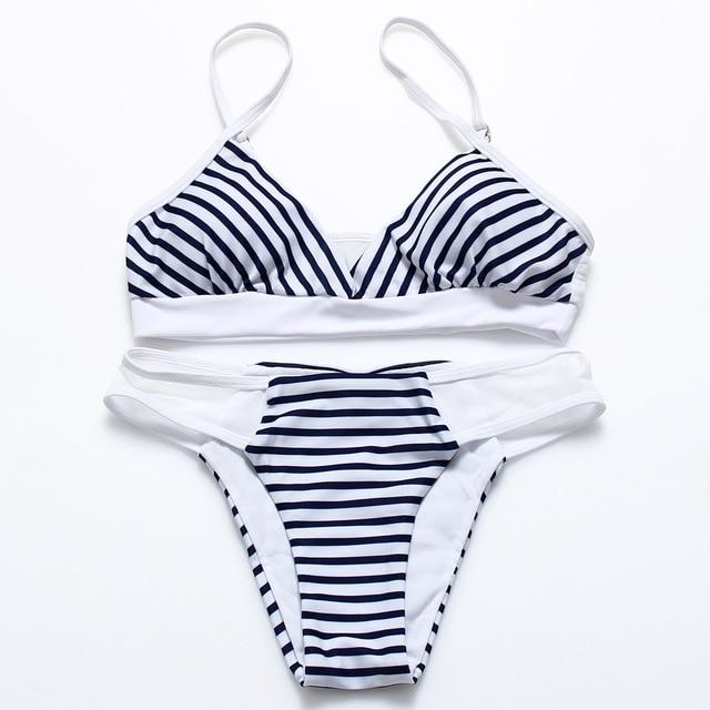 6cfb0b25453d7 Cupshe Hit Summer Stripe Bikini Set Women Summer Sexy Swimsuit Ladies Beach  Bathing Suit swimwear