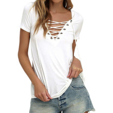 Sexy Lace -Up Tee White Solid Summer T -Shirts Short Sleeve V -Neck Top Women Blusas 2018 Bandage Shirts Tops Plus Size