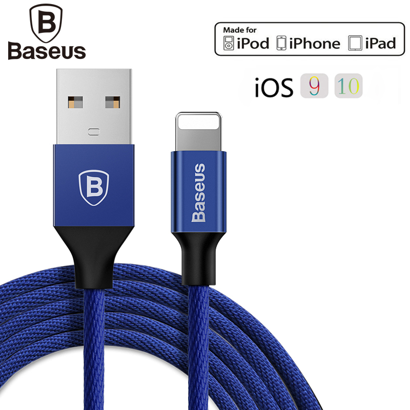 Baseus Knitting Cord Cable For Lightning Fast Charging Data Sync USB Charger Cable For Apple iPhone 7 6 Plus 5 5S SE iPad iPod
