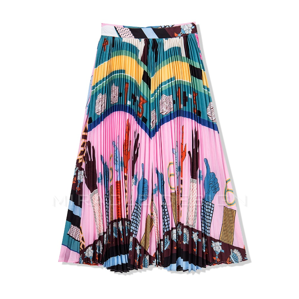 2019 New Summer European Women Size S XXL Runway All match Colorful Pattern Printing Ball Gown Pleated Long Skirt