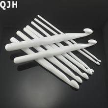 White Plastic Hand Crochet Knitting Tools Needlework Gloves Sweater Hooks Set Needles