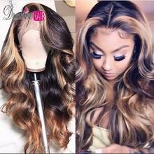 13x6 Часть бразильские кружевные передние человеческие волосы волнистые парик с детскими волосами Омбре блонд основные цвета средняя часть предварительно сорванные мечты