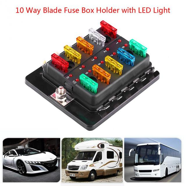 10 way blade fuse box circuit blade fuse box block holder with led rh aliexpress com  fuse box car lighter