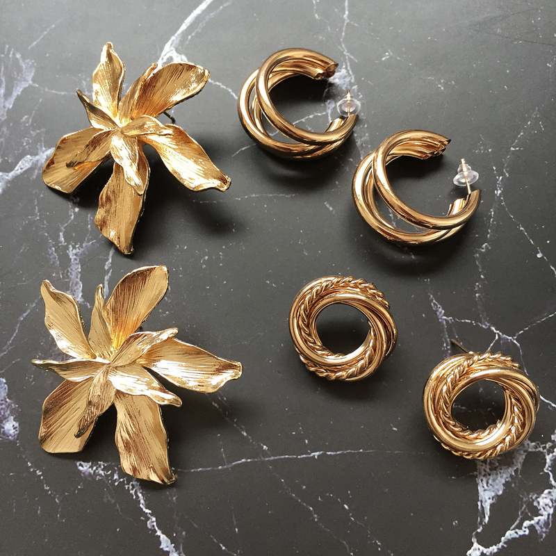 Ztech <font><b>2019</b></font> Europe New Vintage Za Gold Color Metal <font><b>Flower</b></font> Big <font><b>Earrings</b></font> <font><b>For</b></font> <font><b>Women</b></font> Fashion Personality <font><b>Statement</b></font> Oorbellen image