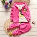 1-4 T primavera otoño que arropan niño traje de madre y niños ropa Para Niños ropa de la muchacha t camiseta + coat + pants TZ-10
