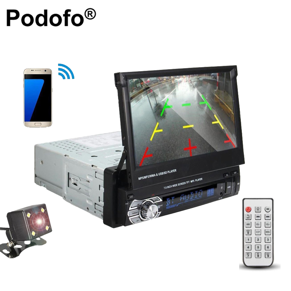 Podofo 1 din 7 HD Car Stereo audio Radioc Bluetooth Retractable Touch Car Monitor In-Dash MP5 SD FM USB Player + Backup Camera 7 hd 2din car stereo bluetooth mp5 player gps navigation support tf usb aux fm radio rearview camera fm radio usb tf aux