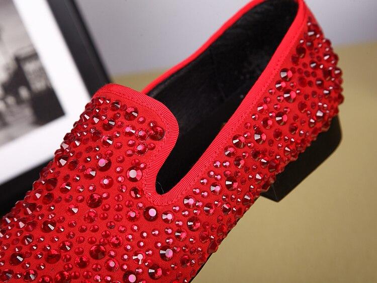 Pé Decoreation Festa on Strass Dos Homens casamento Vestido Metal Ntparker Do Vermelho Casual sapatos Sapatas Dedo Couro Red Sapatos De Homens Slip IxqEIPwX