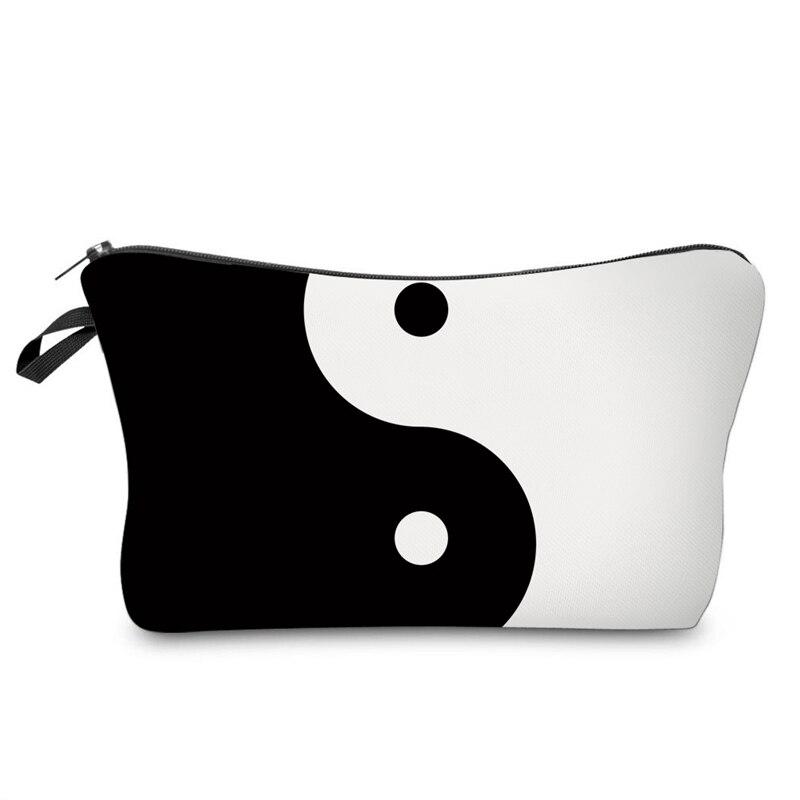 Black and White 3D Printing women makeup bag neceser bolsos mujer de marca famosa 2017 New who cares bolsa neceser maquillaje