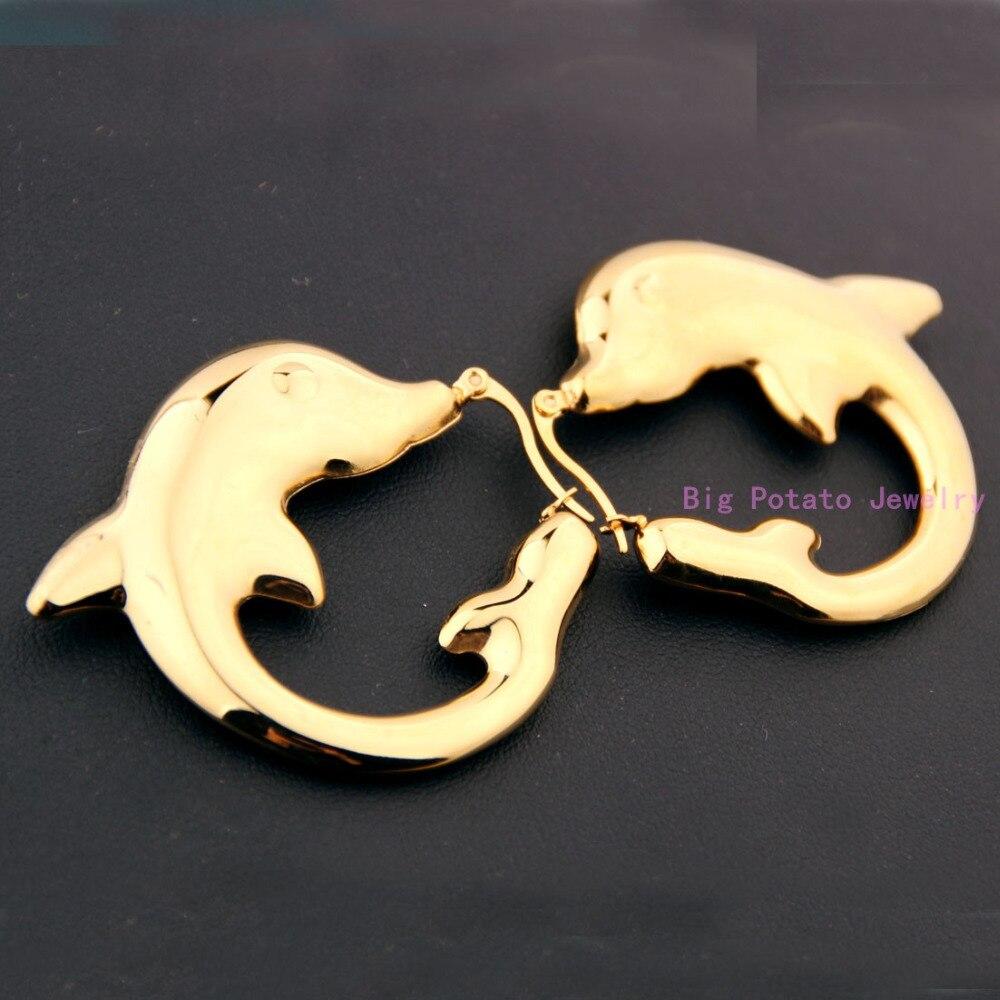 1 par de Moda Amantes do Golfinho de Ouro Aço Inoxidável 316L Ear Studs  Brincos Presente da Festa de Casamento Para A Jóia das Mulheres 24b0570dd0