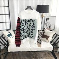 GRUIICEEN long sleeve winter women sweater leopard pattern oversized knitting sweater pullovers GY2018363
