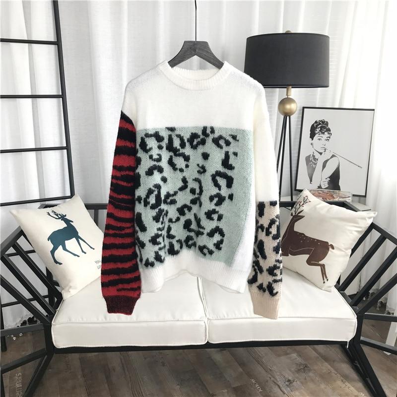 GRUIICEEN manga larga invierno mujeres suéter patrón de leopardo ...