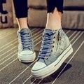 O envio gratuito de modelos primavera denim de alta-top sapatos de lona sapatos mulheres dentro da maior pesada-sapatos de fundo chato