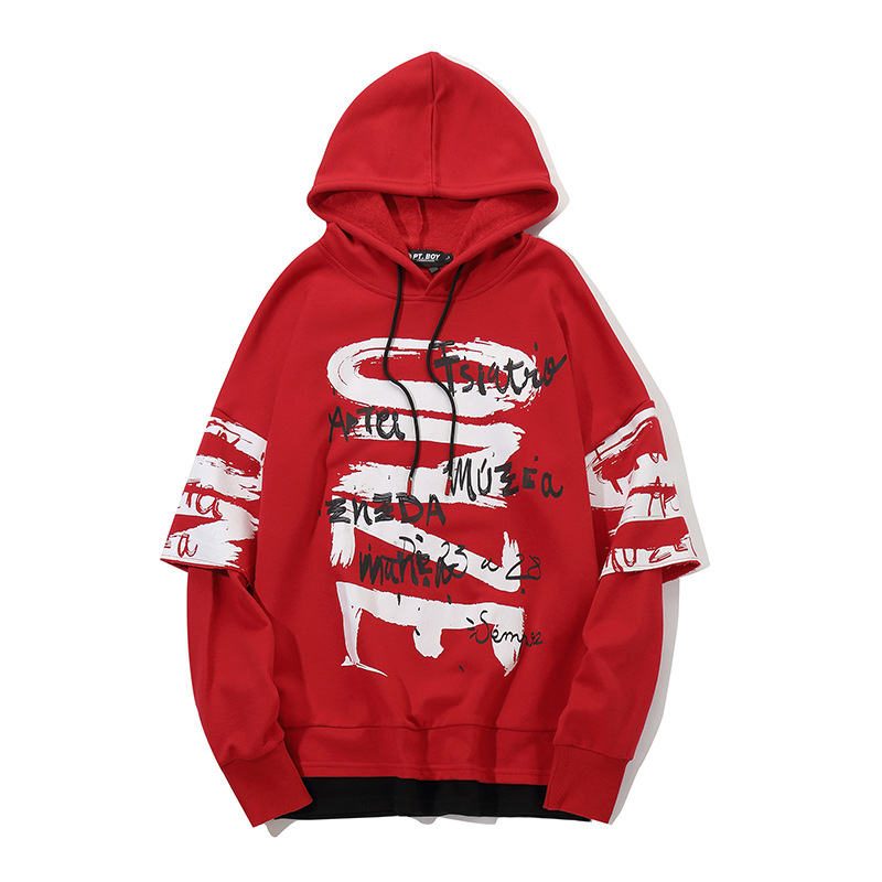 Harajuku Hoodie 2019 Frühling Streetwear Sweatshirt Pullover Brief Männer Herbst Hoodies Hip Kleidung Hipster Schwarzes Hop Farbe rot Oversize f6Y7gby
