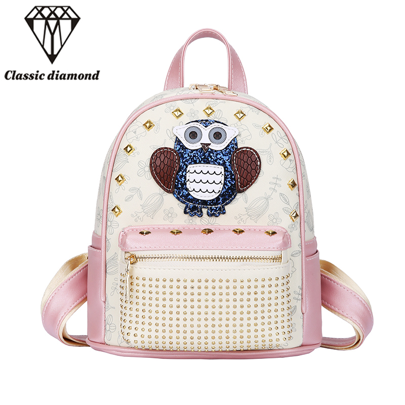 Owl Bag Students Small PU Backpack For Teenagers Girls Back Pack School Backpacks Funny Preppy Leather Shoulder Travel Bag 2017