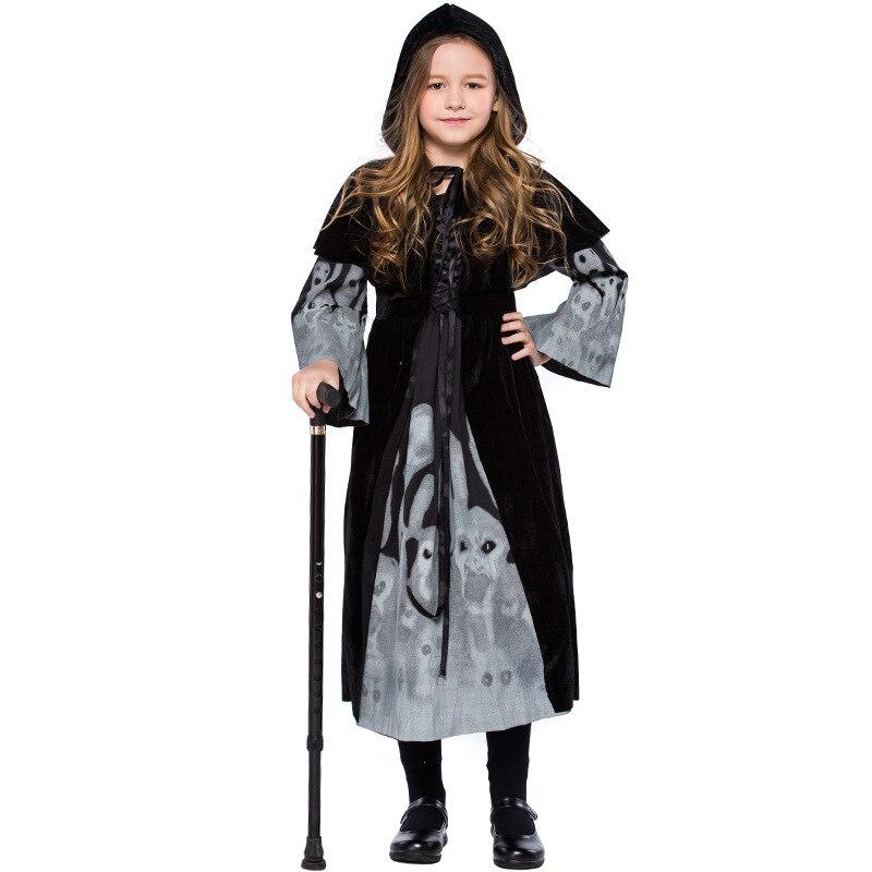 Robe d'impression squelettique pour enfants Performance uniforme Cosplay expérience Noctilucan effet vêtements robe + châle + ruban L1862124