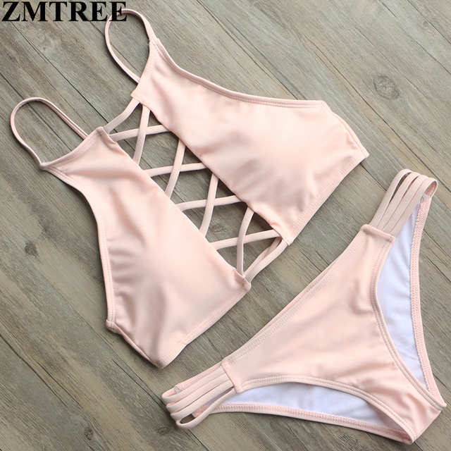 d210c1c17a ZMTREE Bikini Women Bandage Pink Bikini Set High Neck Sexy Beach Swimwear  Women Swimsuit Sweet Girls Biquinis Maillot De Bain