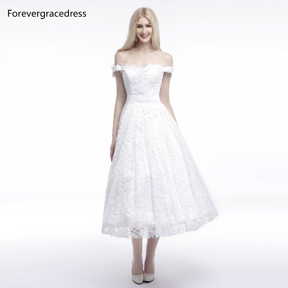 Forevergracedress 2017 A Line Lace Wedding Dress Sexy Off The Shoulder Bridal Gown Plus Size Custom
