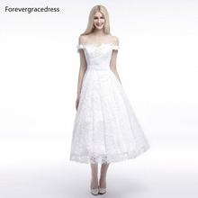 Forevergracedress 2017 A Line Lace Wedding Dress Sexy Off The Shoulder Bridal Gown Plus Size Custom Made