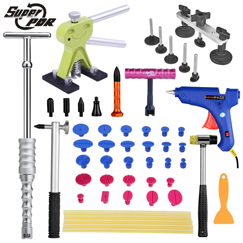PDR dent repair tool kit Paintless car body dent removal tools dent puller lifter glue gun pulling bridge hammer hand tool set pdr rods kit with slider hammer dent lifter bridge puller set led line board glue stricks pro pulling tabs kit for pop a dent