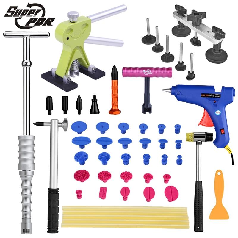PDR dent repair tool kit Paintless auto body dent strumenti di rimozione dent puller lifter pistola di colla tirando ponte mano martello set di strumenti