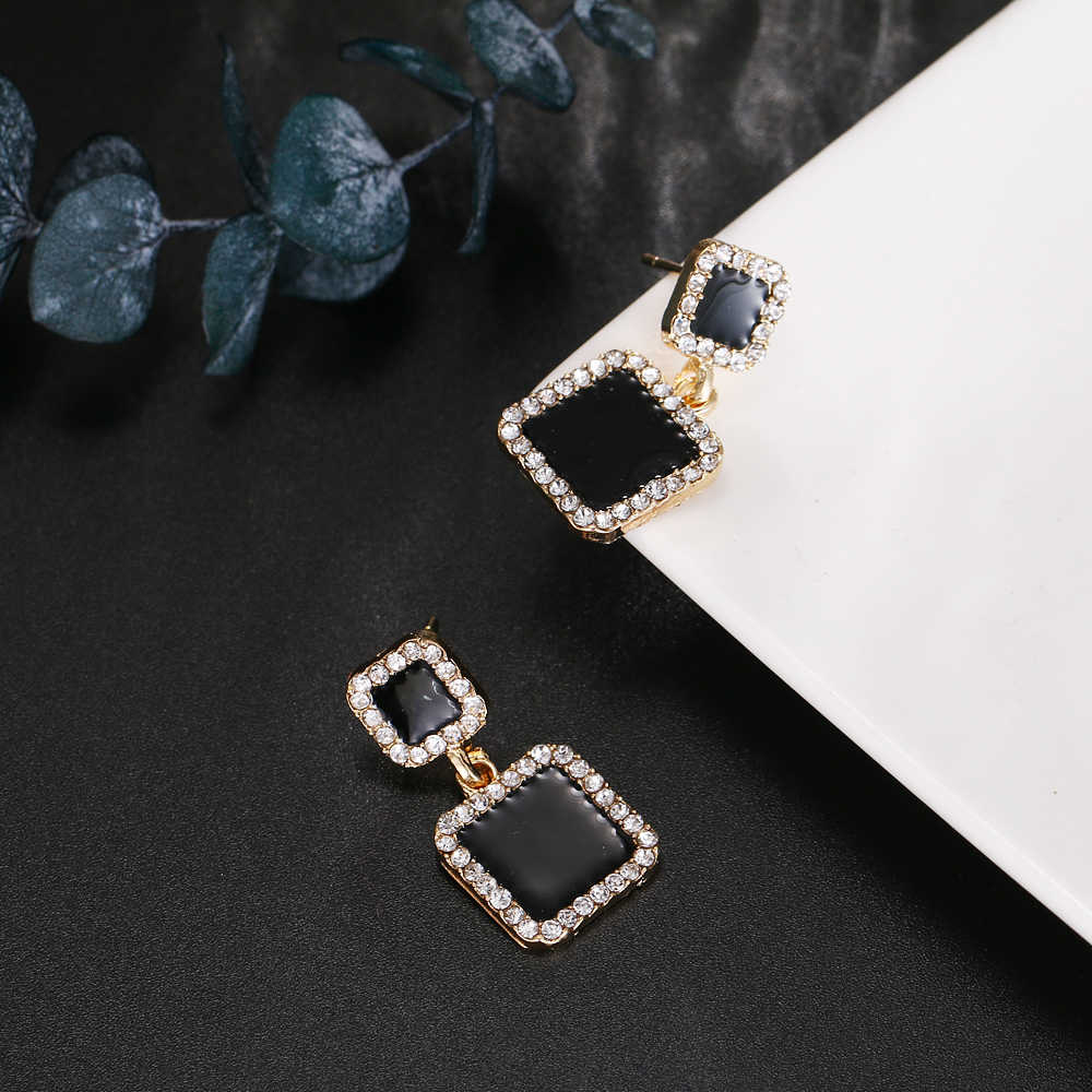 RscvonM Fashion Women Hyperbole Za Crystal Square Big Dangle Earrings Wedding Jewelry Luxury Boho Vintage Women Earrings