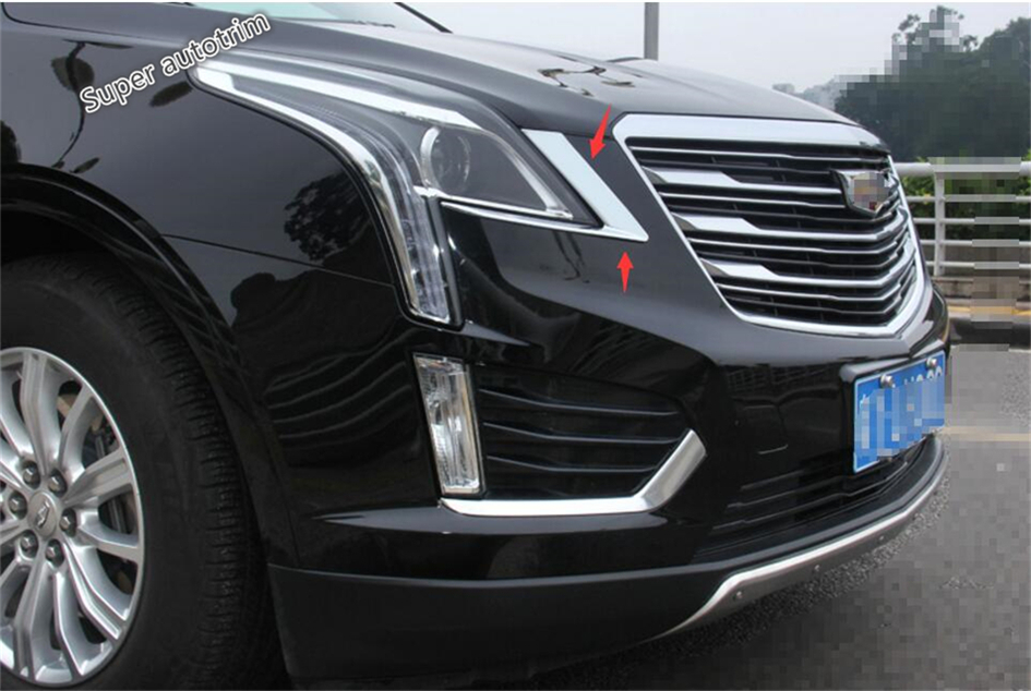Bright Style ! 2 PCS For Cadillac XT5 2016 2017 2018 ABS Front Headlight Head Light Lamp Eyelid Eyebrow Lid Cover Exterior Trim geely sc7 sl car front headlight head light transparent cover