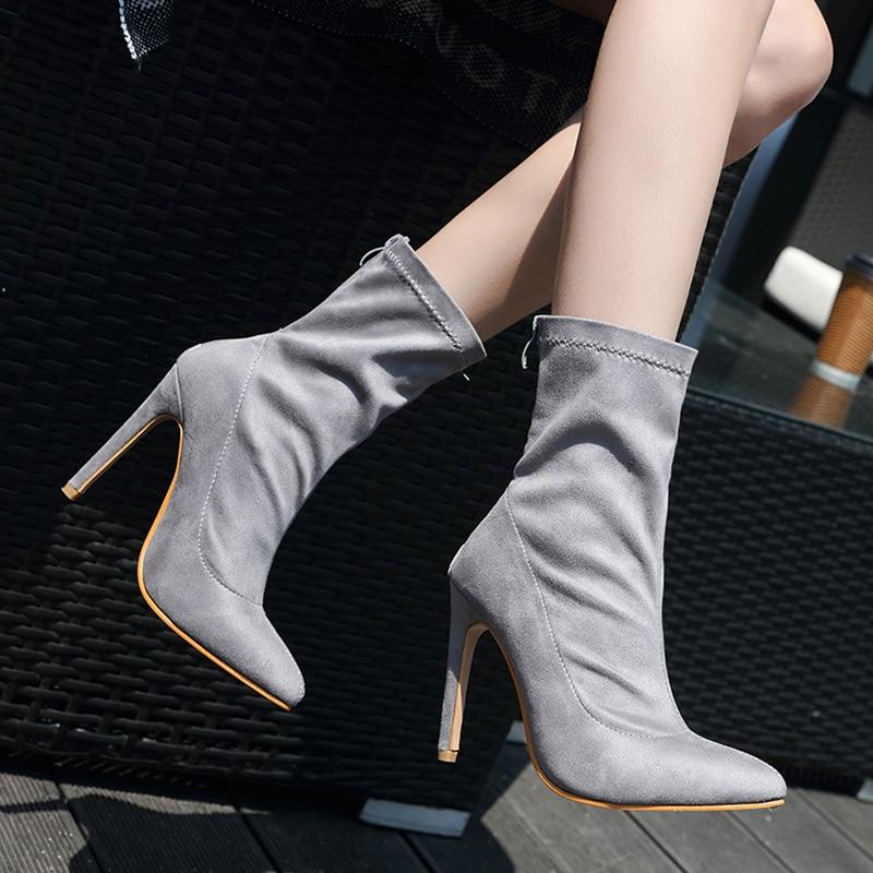 Cm Duan Altos Invierno Faux Tobillo De Talones Zapato Pie Del Mujer Xue Cuero Alto Tacón Gray Suede 5 Botas Punta 10 Calcetín Mujeres Señora Dedo gTwF55