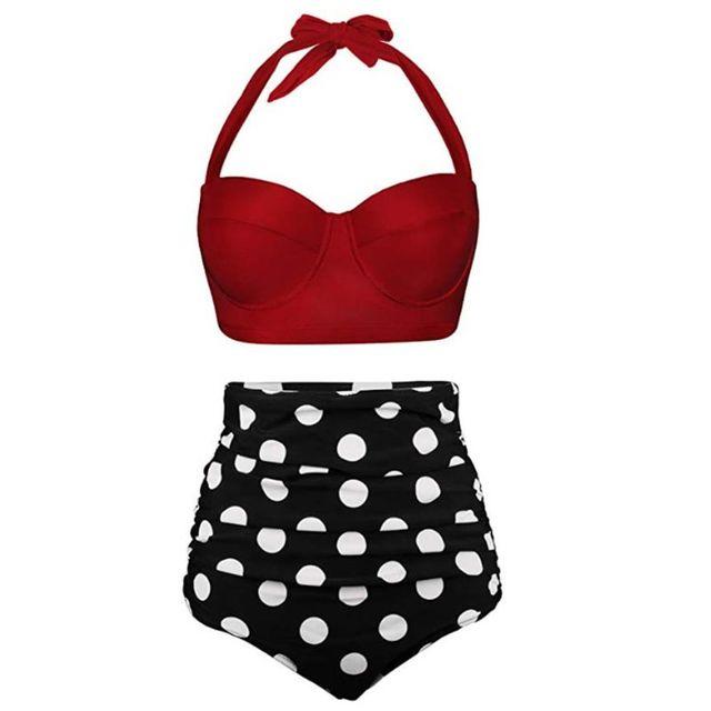 Women Plus Size Two Piece Bikini Set Underwire Halter Crop Top High Waisted Tummy Control Vintage Polka Dot Thong Swimsuit M-3XL